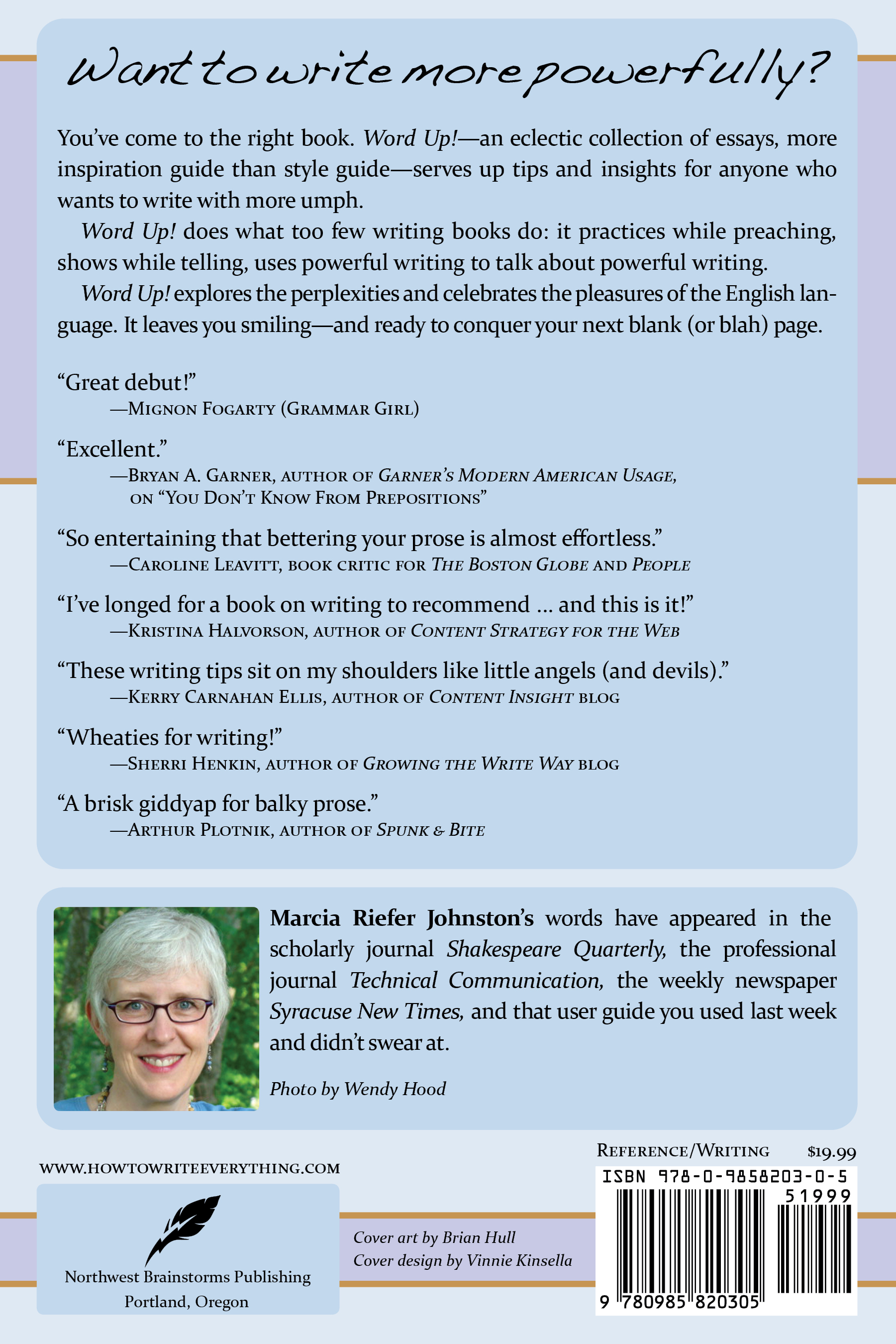 back cover--how to write