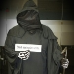 "Grim Reaper with ""be""-verb bumper sticker"