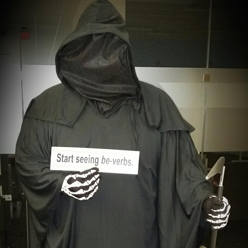 """Grim Reaper with """"be""""-verb bumper sticker"""